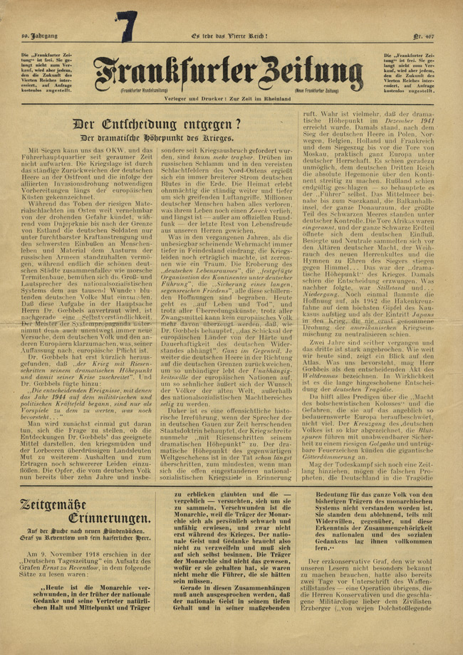 Random PSYOP leaflet - Frankfurter Zeitung, No. 467, Vol. 89 - Towards decision? The dramatic climax of war