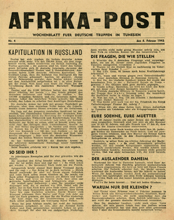 Random PSYOP leaflet - AFRICA POST, No. 4, 8 February 1943 - SURRENDER IN RUSSIA