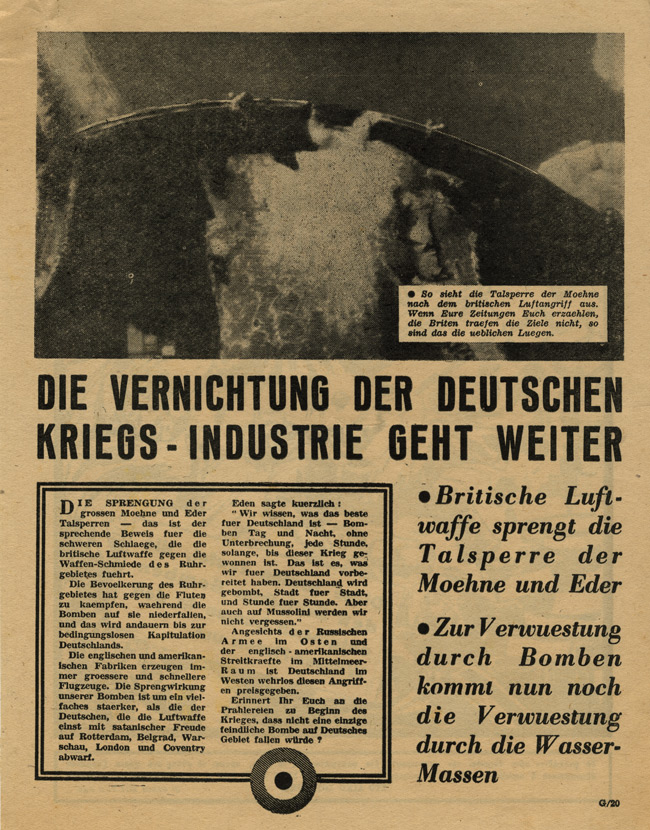 Random PSYOP leaflet - THE DESTRUCTION OF THE GERMAN WAR INDUSTRY GOES ON (Dams Raid)