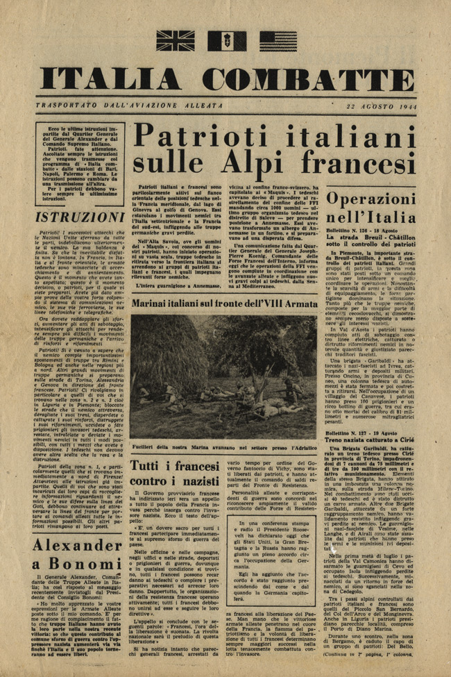 Random PSYOP leaflet - Italy Fights, 22 August 1944
