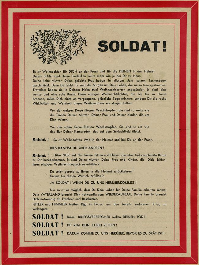 PsyWar Leaflet Archive - No Code, SAFE CONDUCT / SOLDAT Es ist ...