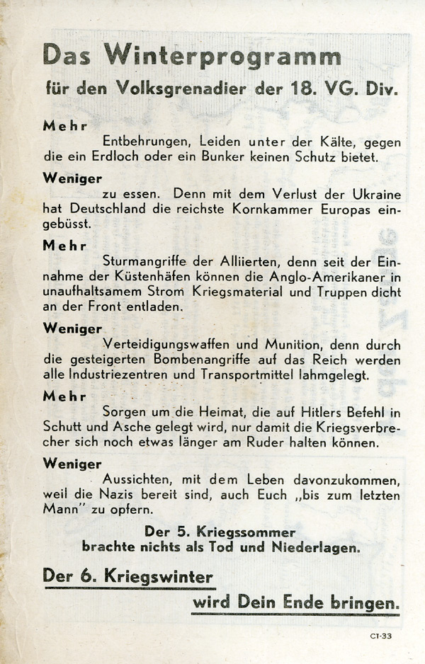 Random PSYOP leaflet - The Winter Programme for the Volksgrenadiere of the 18th VG Div.