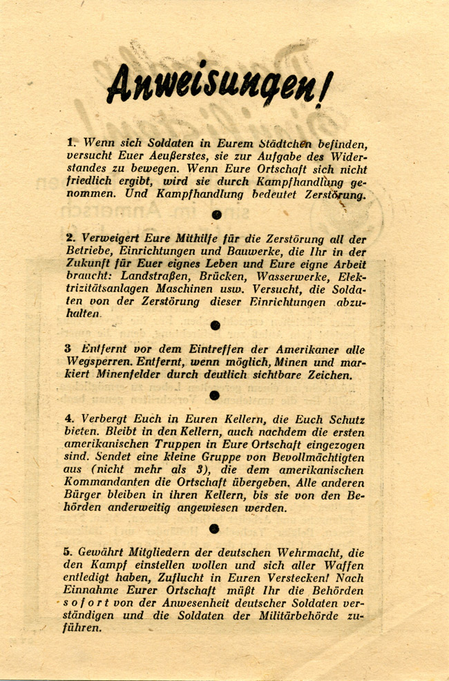 Random PSYOP leaflet - German Civilians! / Instructions