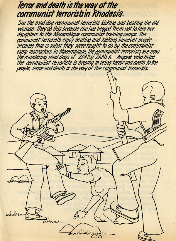 Random PSYOP leaflet - See the mad dog communist terrorists kicking and beating the old woman