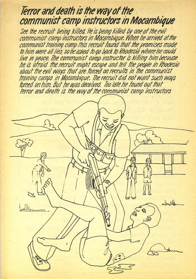 Random PSYOP leaflet - See the recruit being killed. He is being killed by one of the evil communist camp instructors in Mocambique