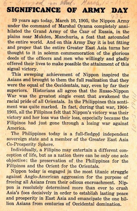 Significance of Army Day propaganda leaflet