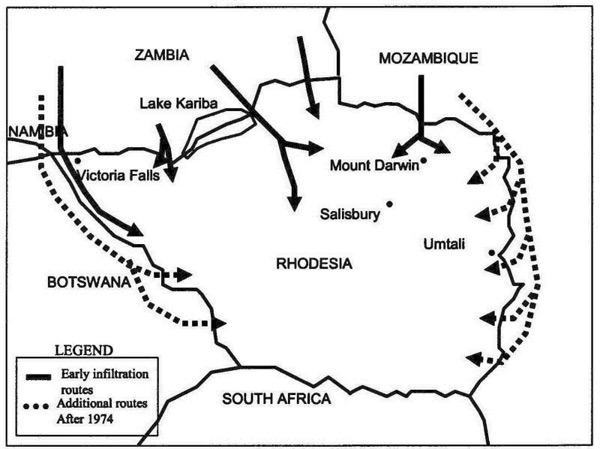 Insurgent Infiltration Routes into Rhodesia