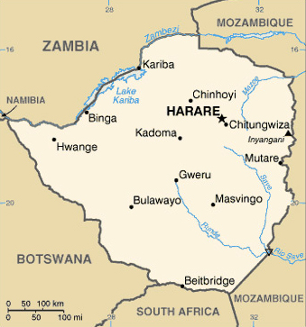 Map of modern day Zimbabwe