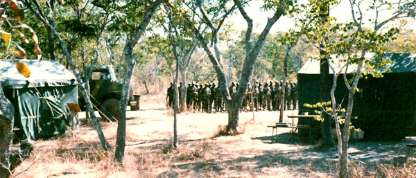 A Rhodesian African Rifles bush camp, 1977