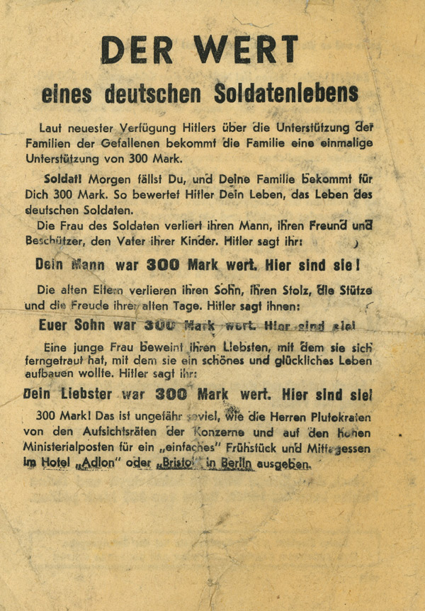 Random PSYOP leaflet - The value of a German soldier's life