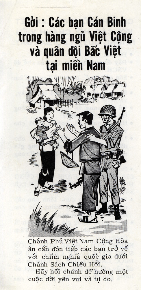 Random PSYOP leaflet - Soldiers and Cadre of the Viet Cong and North Vietnamese Army in South Vietnam