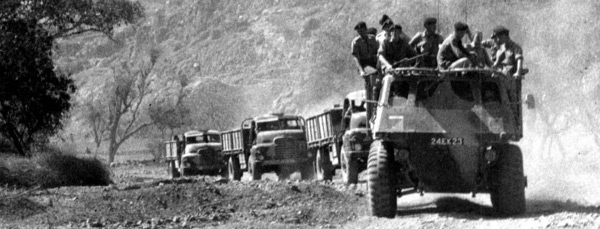 A British Army convoy in Aden