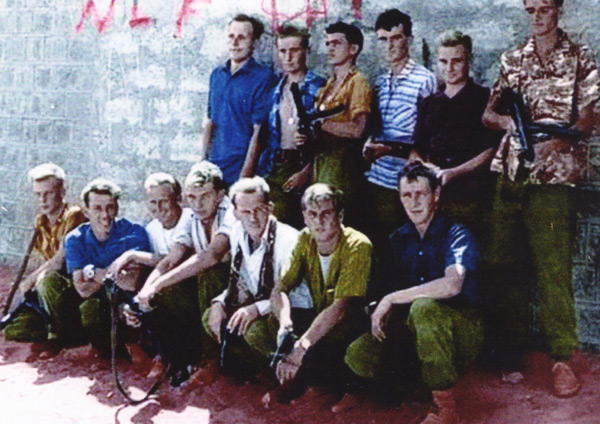 NFL graffiti behind a Somerset & Cornwell Light Infantry reconnaissance platoon in 1966