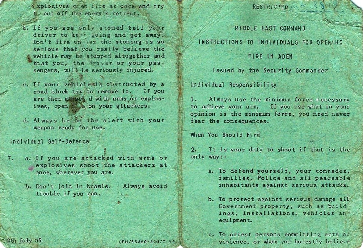 Rules of Engagement card, green version from July 1965.