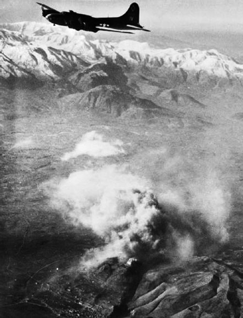 An American B-17 Bomber over Monte Cassino
