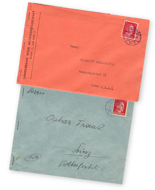 OSS Morale Operations: Operation Cornflakes envelopes with forged postage stamp and postmark, containing subversive propaganda