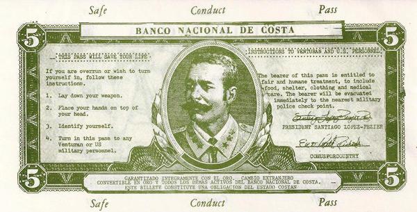 Costa 5 Peso Banknote