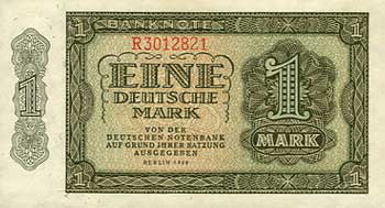 Genuine East German 1 Mark Banknote of 1948