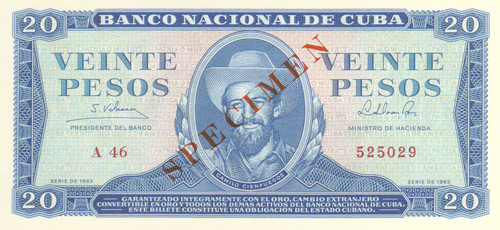 The Genuine Cuban 20 Peso Banknote