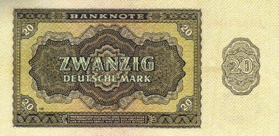 The Genuine German Democratic Republic 20 Mark Note