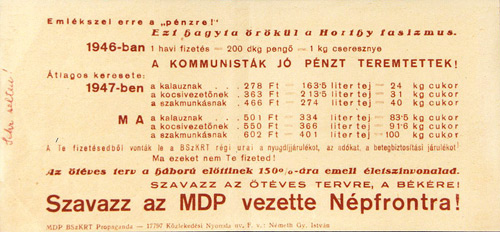 The Communist Parody of the Hungarian Banknote Message Side