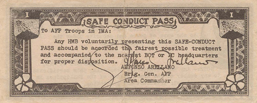 The 2 Peso HUK Safe Conduct Banknote Back