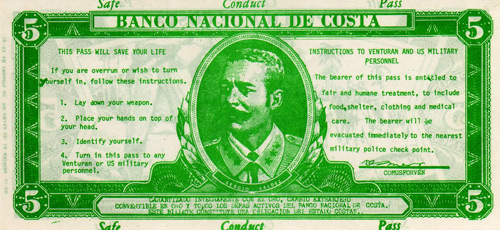 The National Bank of Costa Safe Conduct Banknote