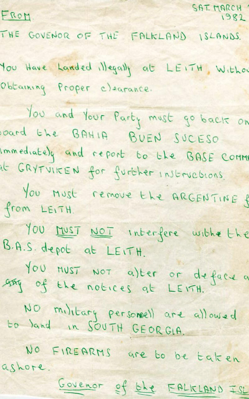 The Note from the Governor of the Falkland Islands to the Trespassers