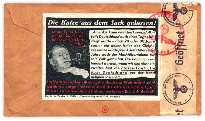 Genuine Parole der Woche, Nr. 23/1941 as used on an envelope