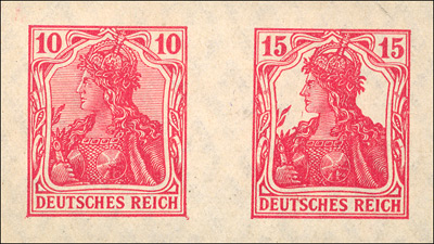 Imperforate proofs of the British WWI Germania Forgeries
