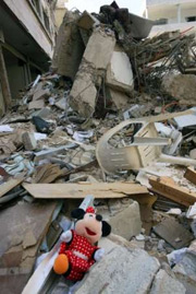 Brand new Minnie mouse laying in bomb damaged Lebanon