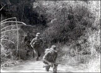 British soldiers on jungle patrol in Malaya