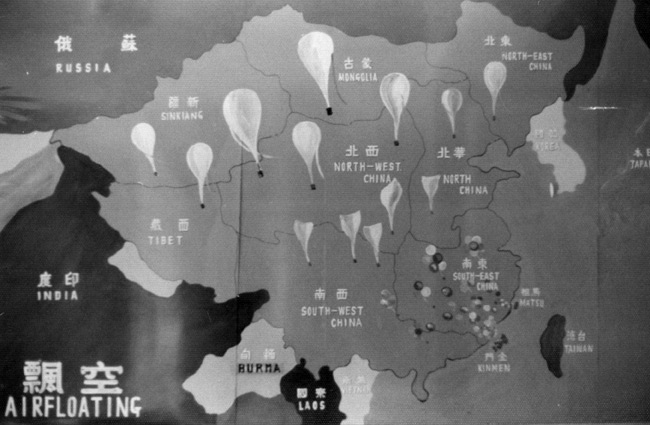 Map showing the potential range of leaflet-dropping balloons across the People's Republic of China if launched from the Kinmen Islands
