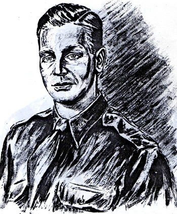 Portrait of Ed Lindner was drawn by German prisoner-of-war Willy Haseneier