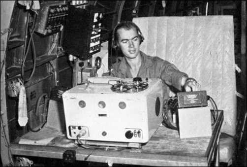 Broadcasting from inside an RAF Dakota Voice aircraft in Malaya.