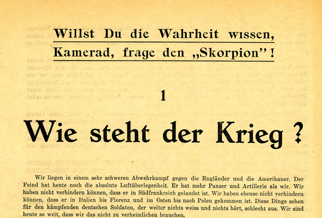 Leaflet-newspapers: This is the first issue of the genuine German Skorpions