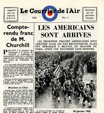 Leaflet-newspapers: Fig. 4. The revised version is identical in every respect  to that shown in Fig. 5 except that the picture this time unmistakedly shows  American soldiers.