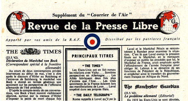 "Leaflet-newspapers: Fig. 5. A typical example of ""Revue""  of which around 100 editions were disseminated from June 1942 to June 1944"