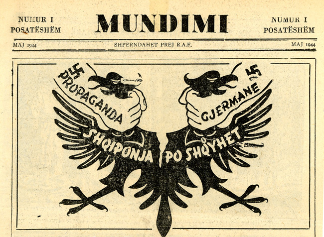 "Leaflet-newspapers: Fig.  10. It is believed that this newspaper (top half of page 1 of 4 shown) was  dropped on Albania. A better translation of the title, believed to be  ""Struggle"", is required - please contact the author."