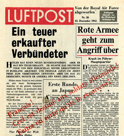Leaflet-newspapers: Fig. 14. The most regular phase of Luftpost production was  from June  to December 1940. This issue  was one of the few that was overprinted in red with a message to the French  asking them to ensure the Germans received it.