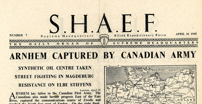 Leaflet-newspapers: Fig. 16. SHAEF was dropped almost daily from April 10 to  July 10 1945. After hostilities ceased it was dropped in parachute containers  for distribution.