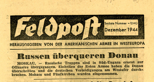 Leaflet-newspapers: Fig. 18. About 33 issues of Feldpost were produced from  November 1944 to April 1945.