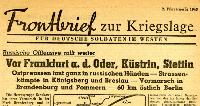 Leaflet-newspapers: Fig. 20. Frontbrief was mainly textual with the  occasional map or photo. It was certainly spread by artillery shell and  possibly by aeroplane.