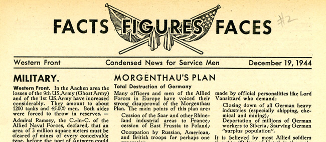 Leaflet-newspapers: Fig. 26. The content is very similar to that of Swastika  Times although the news reports relate to the British as well as the Americans.  Dissemination was almost entirely by modified artillery shell or specially  designed leaflet rocket.