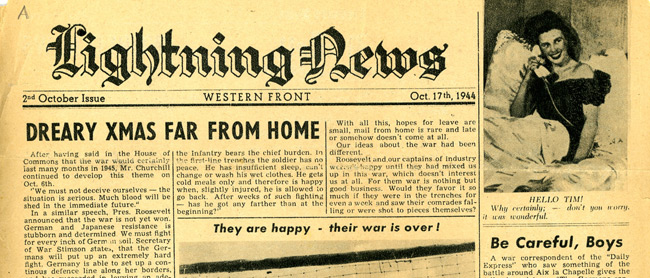 Leaflet-newspapers: Fig. 27. This newspaper had a more light-hearted tone  than other German newspapers, with a varied layout and an appealing  cocktail of news, photos, and cartoons. But,  inevitably, the news reports, military and home front, had an anti-Allies  slant.