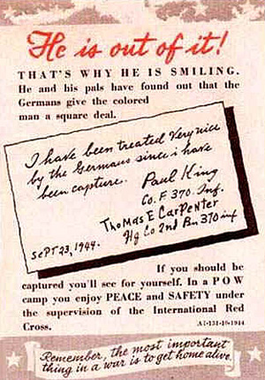 Why is he smiling? German propaganda leaflet