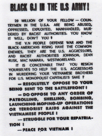 Black GI in the U.S. Army! Vietnam propaganda leaflet