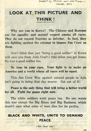 Chinese propaganda leaflet dropped during the Korean War