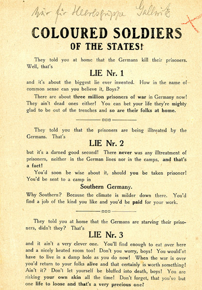 World War One Propaganda German. WWI German propaganda leaflet