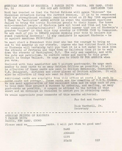 American Friends of Rhodesia propaganda letter